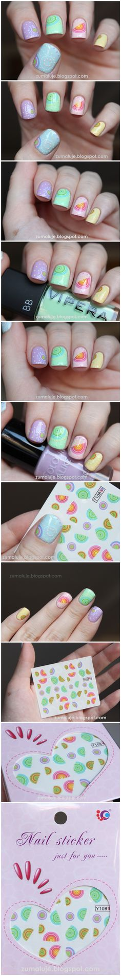 $0.99 Nail Water Decals Sticker Transfer Sticker Colorful Half Round Ring Form Y108 - BornPrettyStore.com