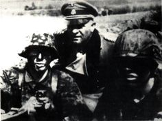 Sepp Dietrich with young grenadiers of the 12th-SS Panzer Division 'Hitlerjugend' in Belgium prior to the unit deploying to Normandy
