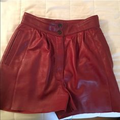 Red leather high waisted shorts Red leather high waisted shorts Nasty Gal Shorts