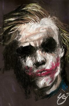 """Why are you so serious?"" The movie Dark Night is my favorite movie. I liked Joker rather than Batman. When Joker said ""Why are you so serious"" I felt this movie is going to be famous. Der Joker, Joker Art, Comic Books Art, Comic Art, Joker Kunst, Joker Painting, Fantasy Anime, Heath Ledger Joker, Creation Art"