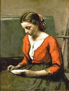 Camille Corot---A Girl Reading.  A gentle graceful painting. Orange, a difficult color, here calmed down by the olive green skirt.
