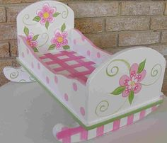 Ideas For Diy Baby Doll Furniture Children Hand Painted Chairs, Whimsical Painted Furniture, Hand Painted Furniture, Baby Doll Furniture, Kids Furniture, Baby Doll Crib, Baby Dolls, Doll High Chair, Baby Doll Accessories