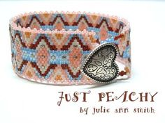 JUST PEACHY Peyote Bracelet Pattern by Julie Ann Smith Designs at Bead-Patterns.com