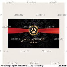 Pet Sitting Elegant Red Ribbon Gold Paw Damask