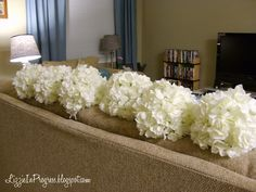 "How to make your own hydrangea pomanders with silk flowers.  Pomander also means ""flower kissing ball."""
