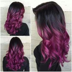 30 Trendy Hairstyles for Fall - Stylish Fall Hair Color Ideas . Hair Color Ideas cool new hair color ideas Hair Color Purple, Hair Dye Colors, Cool Hair Color, Purple Ombre, Curly Purple Hair, Violet Ombre, Magenta Hair, Pastel Purple, Pastel Hair