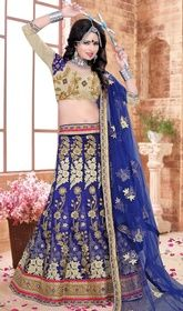 Blue Color Embroidered Silk Lehenga Choli #designerchaniyacholi #plussizelehengacholi Pep up your confidence and beauty dressed in this blue color embroidered silk lehenga choli. The lovely lace and resham work a substantial feature of this attire. Upon request we can make round front/back neck and short 6 inches sleeves regular lehenga blouse also.  USD $ 213 (Around £ 147 & Euro 162)