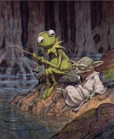 Adore this!! Frank Oz had the best voice, and Jim Henson was a visionary. Plus Kermie & Yoda just rock!