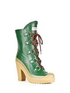Womans Lace Up High Heel Boots   Rain Boots   Hunter Boot Ltd
