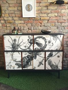 Upcycled mid century solid wood writing bureau drinks cabinet sideboard in Timorous Beasties