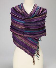 Another great find on #zulily! Purple & Blue Stripe Wool-Cashmere Blend Scarf #zulilyfinds