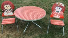 Retro Red Raggedy Ann & Andy Kids Table & Folding Chair Set Mid Century RARE!
