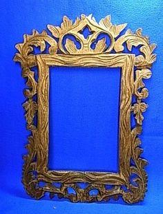 Beauty German Folk Art Wood Carved Picture Frame #J