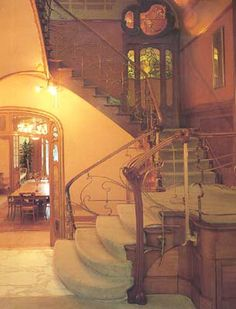 Main staircase of the Maison Horta, Brussels,  designed by Victor Horta, begun 1898.