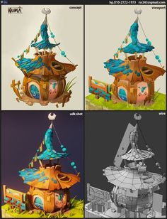 dofus fan art by eunkyung LEE on ArtStation. Bg Design, Prop Design, Game Design, Environment Concept Art, Environment Design, Fan Art, Cartoon House, Game Textures, Hand Painted Textures