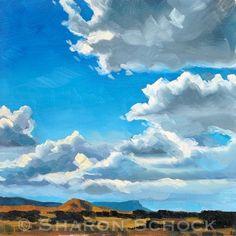 Nevada Clouds II - 6x6 - Original Landscape Oil Painting