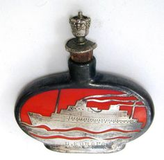 1930's SS Europa Ceramic Silver Overlay Perfume Bottle Flask Crown Top