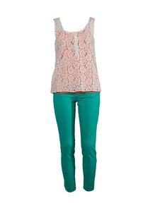 Flower Detail Tank, Salmon Bustier and Green Pants - available at Showcase