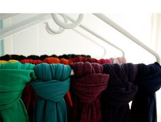 Loop tights over a coathanger for easy storage.  Do the same for scarves.