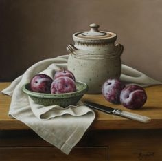 "Stoneware Jar with Plums 12""x12"" Sold"