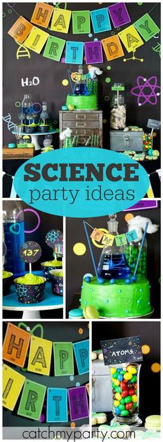 What a fantastic science birthday party! See more party ideas at… Mad Science Party, Mad Scientist Party, Science Cake, Kids Party Themes, Birthday Party Decorations, Party Ideas, 9th Birthday Parties, Boy Birthday, Birthday Ideas