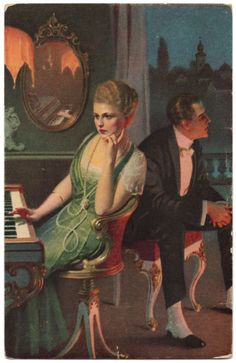 This is a beautifully colored divided back era, illustrated postcard, artist unknown. Its published in Germany by Novitas Verlag Otto Kellner, Vintage Postcards, Vintage Ads, Piano Girl, Decoupage, Playing Piano, Back Art, 3 Arts, Woman Painting, Belle Epoque