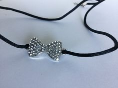 Black nylon cord with a Sparkly Bow Tie by kaysjewelrydesign on Etsy