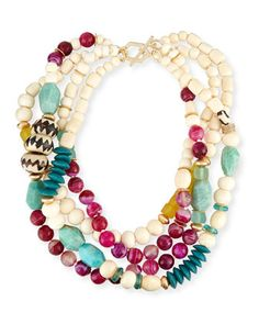 Four-Strand+Bone+&+Agate+Necklace+by+Akola+at+Neiman+Marcus.