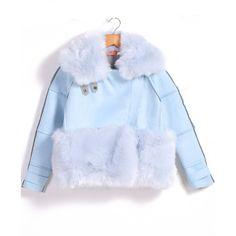 Lapel Faux Fur Crop Blue Coat (42.015 CLP) found on Polyvore featuring women's fashion, outerwear, coats, blue, cropped coat, lapel coat, blue faux fur coat, blue coat and imitation fur coats