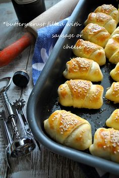 Croissants with cheese Greek Desserts, Greek Recipes, Baby Food Recipes, Food Network Recipes, Snack Recipes, Cooking Recipes, Finger Food Appetizers, Greek Appetizers, Greek Pastries