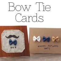 bowtie cards made with bow tie PASTA!! how cute