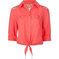 FULL TILT Crochet Back Tie Front Womens Shirt ($20) found on Polyvore