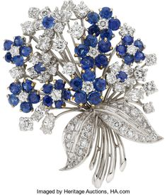 Estate Jewelry:Brooches - Pins, Diamond, Sapphire, Platinum Brooch, Oscar Heyman Bros.. ...