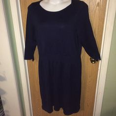 "Navy blue sweater dress Brand new navy blue sweater dress. It's light weight. Size 2x. 40% viscose 40% nylon 20% cotton. 25% from armpit to armpit unstretched, 34"" from armpit to hem. Super soft Liz Claiborne Dresses Long Sleeve"