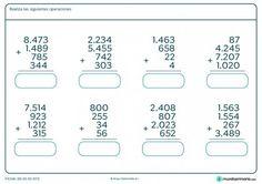 Ficha de hacer sumas de 4 números hasta cuatro cifras en Primaria