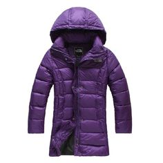 Discount North Face Womens Down Purple Jacket Online     Hit the knee long north face down coat is the must have for your winter wardobe,keep you warm and stylish in cold weather.  Features:  Standard Fit   Fully adjustable, hoodie style.  Stuffing material: 90% white down  Windproof: Yes  Waterproof:Yes  Two hand pockets   Hem cinch-cord  Gender: Women's  Size Available:S,M,L,XL  Recommended Use: Spring, Fall, Summer,Winter, Climbing, hiking, travel