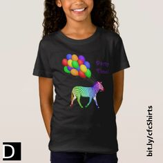 """This cute girl's t-shirt features a rainbow-colored zebra on his way to a party toting a bunch of colorful balloons. The text, which reads """"Party Time!"""", is fully customizable. #StudioDalio children's apparel shirts"""