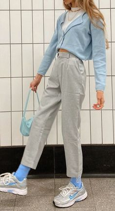 Style Outfits, Indie Outfits, Teen Fashion Outfits, Retro Outfits, Cute Casual Outfits, 80s Inspired Outfits, Vintage Summer Outfits, Blue Outfits, Grunge Outfits