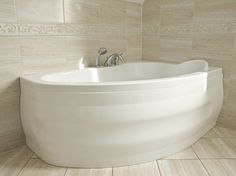 Large White Soaking Tub With Built In Headrest