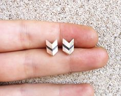 Chevron Sterling Silver Stud Earrings - Original Faceted Small Tiny Chevron 3D Post Earrings Studs - Contemporary Jewelry in Silver by AlejandraGiannoni on Etsy https://www.etsy.com/listing/203567115/chevron-sterling-silver-stud-earrings
