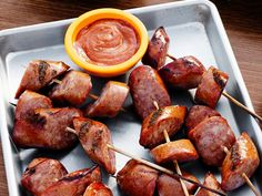 Grilled Sausage with Spicy Sauce recipe from Duff Goldman via Food Network