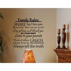 Family Rules: Share, say I love you, do your best... Vinyl wall decals quotes sayings home decor