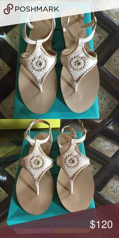 Jack Rogers sandals Jack Rogers brand new never worn Maci style sandals. Bone and gold color. Size 8.5. Comes with box. Can go lower on Ⓜ️ Jack Rogers Shoes