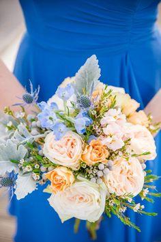 Periwinkle Cornflower Blue Bridesmaid Dresses // Peach + Cornflower Blue Historic Rice Mill Charleston Wedding // Dana Cubbage Weddings // Charleston SC Wedding Photography