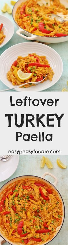 Fed up with the usual leftover turkey recipes? Then why not try my Leftover Turkey Paella? Easy to make, using just a few simple ingredients…this delicious paella can be on your table in under 30 minutes…and only uses one pot! (Perfect if you are fed up with washing up from the day before!!) #paella #turkeypaella #spanishfood #turkey #leftoverturkey #leftoverturkeypaella #turkeyleftovers #leftovers #leftoverroastturkey #christmas #boxingday #paellarice #christmasleftovers #boxingdayleftovers… Lunch Box Recipes, Easy Dinner Recipes, Great Recipes, Easy Meals, Healthy Recipes, Favorite Recipes, Popular Recipes, Rice Recipes, Healthy Meals