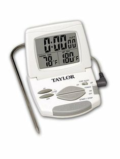 Taylor 1470 Digital Cooking Thermometer/Timer by Taylor Thermometers. $16.15. Folds flat for compact storage; magnetic back for mounting on metal surface. Stainless-steel probe goes into food, 4-foot cord leads to thermometer. Remotely displays food's temperatures and time elapsed while it's cooking. Programmable control panel for cooking by precise temperature or time. Alarm sounds when cooking time or desired temperature reached. Amazon.com                Opening the oven to...