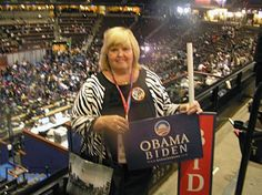 Here is Connie, inside the Pepsi Center, site of the Democratic National Convention in Denver in 2008. Connie was asked by Yahoo to come to Denver and St. Paul to cover the historic 2008 presidential race. Only 125 bloggers were allowed inside.