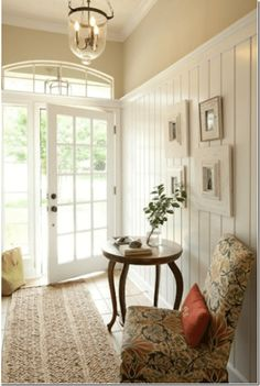 Ideas Farmhouse Entryway Ideas Entrance Plank Walls For 2019 Wood Panel Walls, Plank Walls, Wood Paneling, Entry Way Lighting Fixtures, Entry Way Lights, Foyer Lighting, Painting Wood Trim, Interior Design Blogs, Staircase Remodel