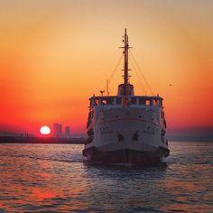 """FERRY RIDE at SUNSET. Istanbul, Turkey. """"Günbatımında vapur sefası"""" Thanks to Çiler Geçici for sharing this wonderful INSTAGRAM photo.[Çiler Geçici @ audiosoup ]  www.armadaistanbul.com"""