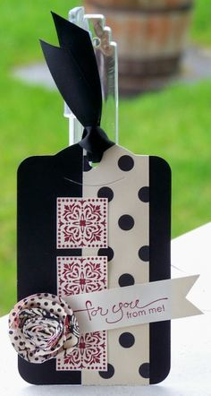 Stampin' Up! two tags die, love the polka dots, cute idea for a card also!